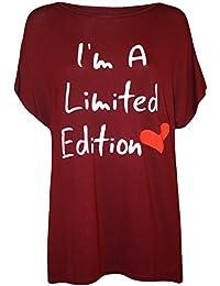 Plus Size Womens Slogan Heart Print Ladies Short Sleeve T-Shirt Top - 16-26