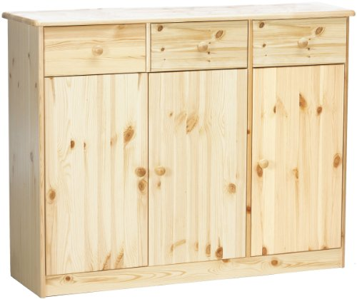 e, 3 Türen, 3 Schubladen, 114 x 89 x 34 cm (B/H/T), Kiefer massiv, natur lackiert ()