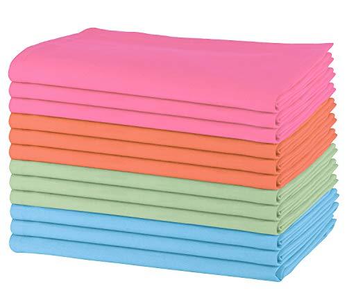 Sweet Needle - Packung mit 12 übergroßen Servietten, 100% Baumwolle, 50 cm x 50 cm, Schwerer Stoff, für den täglichen Gebrauch mit Gehrungsecken Multi - 2 - Bulk Polyester-servietten