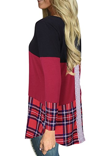Tooklanet Damen Langarm Shirt Oberteile Streifen Lace Loose Pullover Lang Sleeve Lässig Tops Bluse Rot