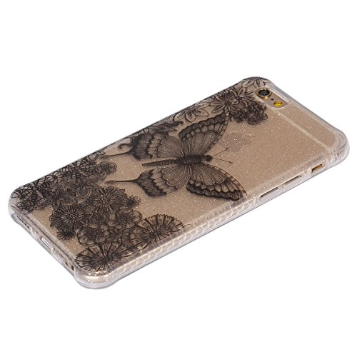 Custodia iPhone 6, ISAKEN Cover per Apple iPhone 6 (4.7) [TPU Shock-Absorption] - Glitter Bling Scintille Argento Colorate Pattern Design Custodia Case Ultra Sottile TPU Morbido Protettiva Cassa Bump Farfalle nero