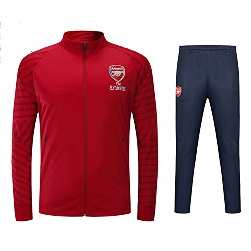 RCHR Arsenal FC Fußball Trikot Langarm Trainingsanzug Sportjacke Herren Wettkampf Team Uniform mit Kapuze Outdoor Sportbekleidung 2 Stück S-3XL-red-XXL