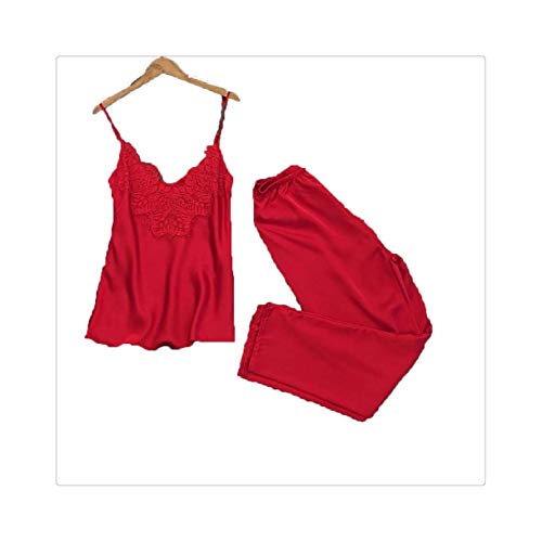 FJLOKE& Women Casual Sleepwear Lace Sling Trousers Sexy Smooth Pajamas Set Red XL
