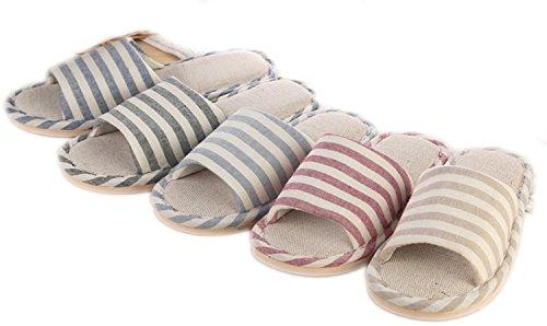 WJL Leinen Hausschuhe, Männer und Frauen Haus Hausschuhe, rutschfeste Leinen Hausschuhe, Haus Sandalen für Frühling Sommer & Herbst Navy