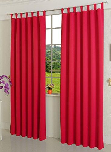 blickdicht, 2 Stück 245x135 (HxB), Rot Schlaufen Thermo Vorhang Gardine Verdunklungsvorhang Blackout, 206000 ()