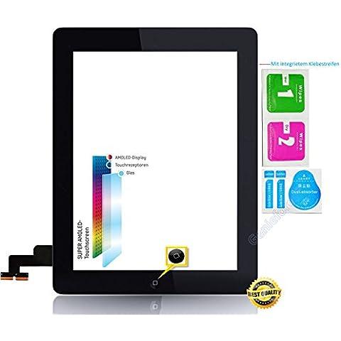 o.e.m & # x2714; Completo Pantalla Táctil Cristal Digitalizador para Apple iPad 2, pantalla completa con original LVA Flex Cable, Home Button–Negro Incluye Juego de 3Set de limpieza–Negro
