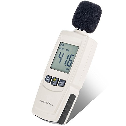 Decibel Meter Digital Hand-held multi-function /Sound level Reader with mini appearance and LCD backlight /Measuring data retention(30~130dBA),which is easy to operate and carry(included 3AAA batteries)