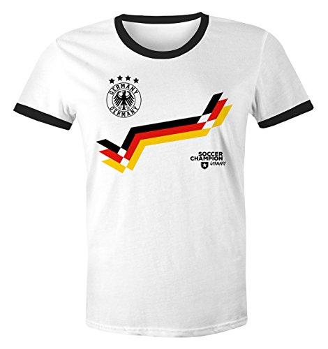 MoonWorks WM Shirt 2018 Retro Deutschland Zick Zack Streifen Fußball Fan T-Shirt Trikot Look Herren Germany Weiß-Schwarz L (Fußball-kumpel)