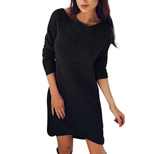 Damen Kleider, Bluelucon Rundhals Kleid Elegant Herbst Sweatshirt Beiläufiges Langarm Pullover Sweater Pullikleid Minikleid T-Shirt Kleid