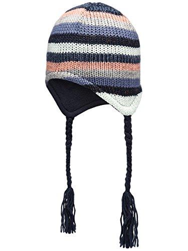 NAME IT Mädchen Mütze Sky Captian Orange Grau Gestreift Mini NitMalina Strick Winter HAT - Größe: 50/51 (Captian Hat)