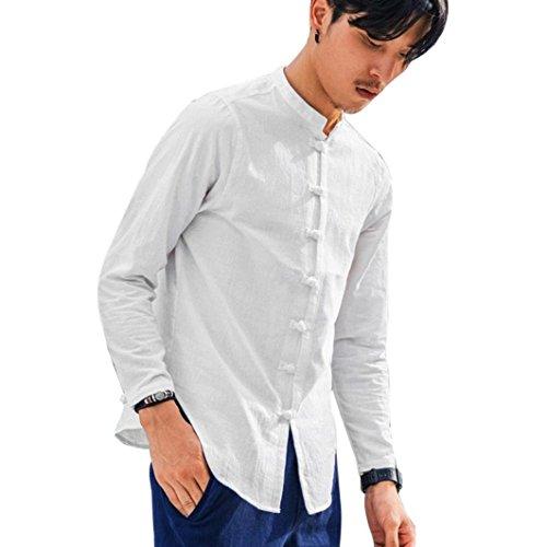 Vicgrey camicia uomo collo lino elegante slim fit manica lunga classica camicetta, camicia da uomo a maniche lunghe in tinta unita camicia a maniche lunghe vintage