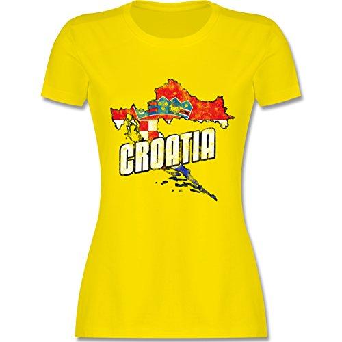 EM 2016 - Frankreich - Croatia Umriss Vintage - tailliertes Premium T-Shirt mit Rundhalsausschnitt für Damen Lemon Gelb
