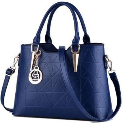 HQYSS Borse donna Dolce signora atmosferica moda PU cuoio donna spalla borsa Messenger , light gray treasure blue
