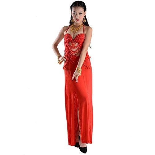 Byjia Frauen Bauch Tanz Outfit Glasperlen Stickerei Moderne BH Rock India Handmade Kostüm Professionelle Performance Baumwolle Praxis Match Kleidung Red F
