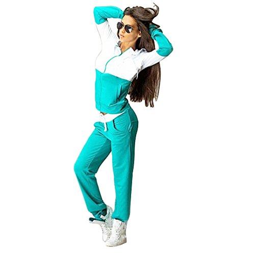Baymate Donna Tuta Sport Manica Lunga Felpa con Cappuccio Pantaloni 2 Pezzi Verde