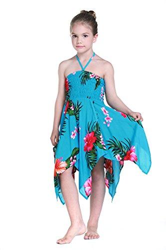 Nia-gitano-Botn-desigual-Hawaiian-Luau-vestido-en-Turquesa-8