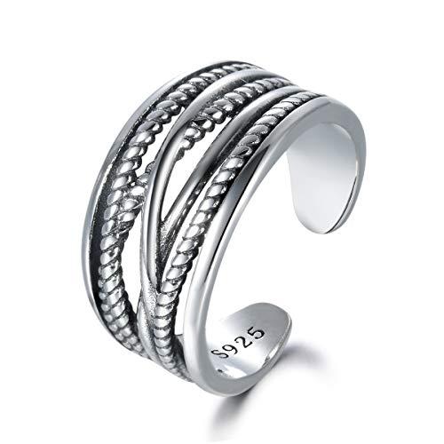 snorso Sterling Silber gedrehtes Seil Criss Cross Verlobungsring breit Band Ring für Frauen - Cross Frauen Ring Criss