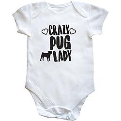 HippoWarehouse Crazy Pug Lady body bodys pijama niños niñas unisex