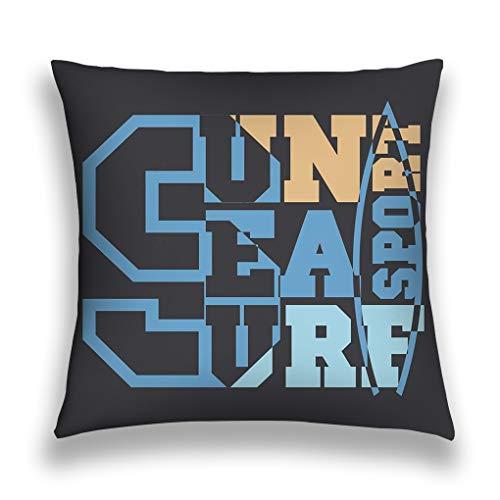 rongxincailiaoke Kissenbezüge Throw Pillow Cover Pillowcase Surfing Miami Beach Florida inscrip Inscription Typography Graphic Design Emblem Sofa Home Decorative Cushion Case 18