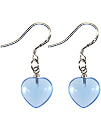 Lovely fashion silver Fish Hook Earrings by BodyTrend - 12MM Genuine Heart Stone Designs - Very FashionableAvailable in many colors