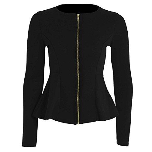Femmes Neuf Uni Fermeture éclair Péplum À Volant Blazer Ajusté Veste Grande Taille ROYAUME-UNI 8-24 Noir
