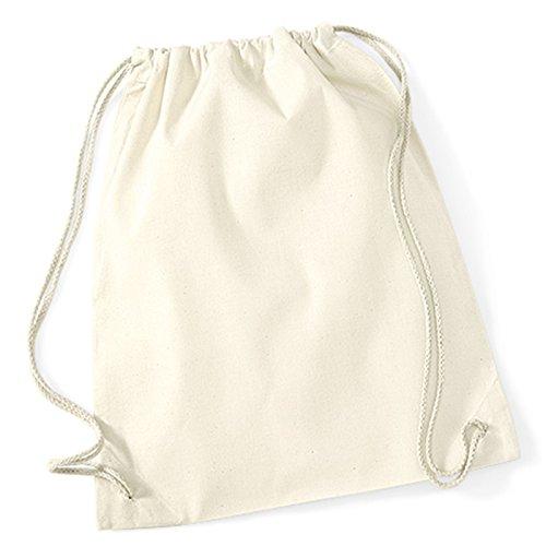 Baumwolle Kordelzug Gymnastikbeutel, Westford Mill Seil, Schließung natürlichen Alternative zu Polyester gymsacs 100% Baumwolle natur (Stroh Tote Natürlichen)