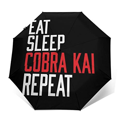 Eat Sleep Cobra Kai Repeat Paraguas Plegable Compacto