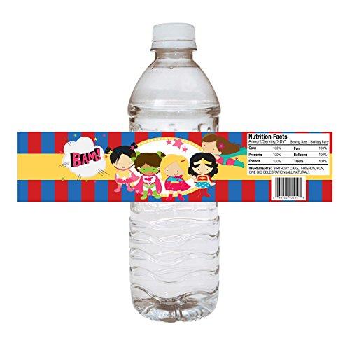 orations - EU Superheld-Mädchen-Party-Wasser-Flaschen-Aufkleber - Geburtstags-Babyparty-Party-Getränk-Aufkleber - Satz von 12 ()