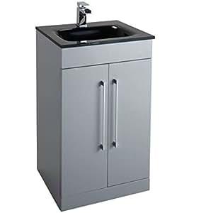 hpb badezimmer waschtisch suite unterschrank 500 mm 2 t r schwarz edelstahl geb rstet glas. Black Bedroom Furniture Sets. Home Design Ideas