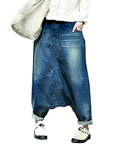 4162feecef09 ZiXing Donne Big Crotch Sarouel Harem Pantaloni Denim Ampia Leg Jeans Blu  Large