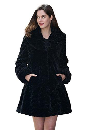 Adelaqueen Inverno Grande Risvolto Collare Femminile Persico Lamb Elegante Faux Fur Coat Nero Dimensione XXL