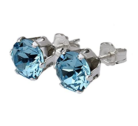 6mm Aquamarine Crystal Stud Earrings Made With Sterling Silver and Swarovski Crystals by Black Moon