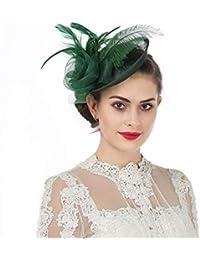 4e6d53e5eb Sinamay Flower Feather Headband Fascinator Wedding Headwear Ladies Race  Royal Ascot Pillbox Wedding Cocktail Tea Party Derby Hat For…