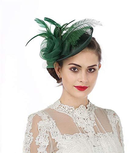 Fascinator Blume Netzmütze Feder Mesh Netz Schleier Tea Party Derby Hut mit Clip und Haarband für Frauen (A4-Green)