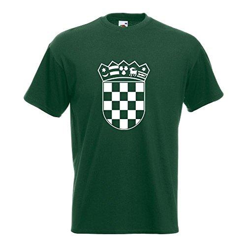 KIWISTAR - Flagge Kroatien Wappen T-Shirt in 15 verschiedenen Farben - Herren Funshirt bedruckt Design Sprüche Spruch Motive Oberteil Baumwolle Print Größe S M L XL XXL Flaschengruen