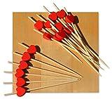 Holzspieße mit rotem Herz, 9°cm, 100 Stück
