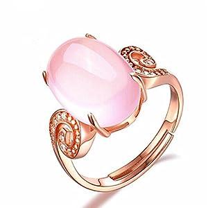 Impression 1PCS Ringe Ring Rosa Kristall Diamant-Ring Mode-Ring Schmuck-Girl Zubehör Valentinstag Geschenke aus Glas Hochzeit Ring offen Gold Rosa
