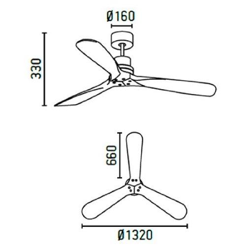41PTsHzRNOL. SS500  - Ceiling fan Lorefar LANTAU Faro 33370 Nickel matt with 3 dark walnut blades Diameter 132 cm with remote control 3 fan…