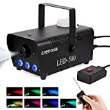 Fog Machine, 7 Color LED Lights, Crenova FM-03 Compact Portable Smoke Machine, Wireless Remote, Best Mist Machine for Halloween Party Festival Wedding Stage Effect, 500W-Black