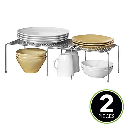 mDesign Porta piatti e Porta stoviglie allungabile – Scaffale cucina salvaspazio – Ideale per ottimizzare gli spazi e sfruttare ogni centimetro – argento - 2