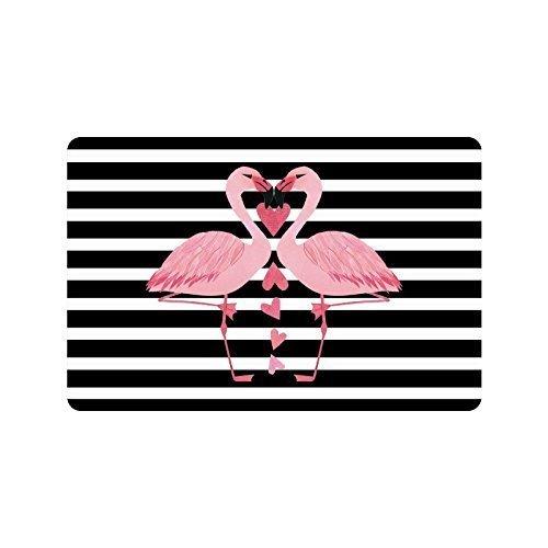 Christmas Day Home Decor Black White Stripes Flamingo Durable Indoor/Outdoor Doormats (L23.6