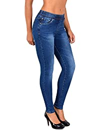 f57b3b07dee6f1 ESRA Damen Jeans Hose Skinny und Slim Fit Jeanshose mit Gummibund  SkinnyJeans bis große Größen J291