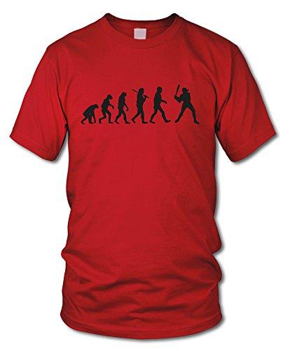 shirtloge - EVOLUTION BASEBALL - KULT - Fun T-Shirt - in verschiedenen Farben - Größe S - XXL Rot (Schwarz)