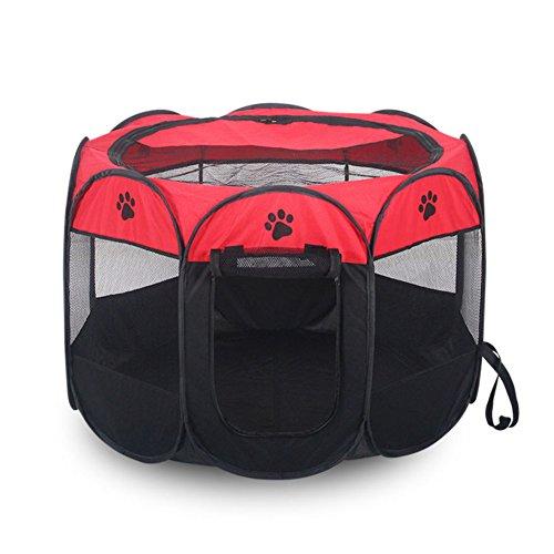 SL&ZX Tragbare Hund Zelt,Waschbar Hund Haus zwinger faltung im Freien Reisen Haustier Zaun Atmungsaktiv Hund kiste-Rot 91x58x37cm(36x23x15inch)