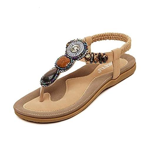 Chaussures Femme Ete 2016 Sandales Doux Fashion perlée clip Toe Flats Femmes Sandales Herringbone Bohême (EU 41-Pied Longueur:10.1-10.4
