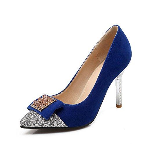 Dépolissement Couleur Pointu Tire Unie Femme Stylet Bleu Chaussures VogueZone009 Légeres Eqn6OTt