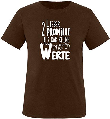 Luckja Lieber 2 Promille als gar keine inneren Werte Herren Rundhals T-Shirt Braun/Weiss