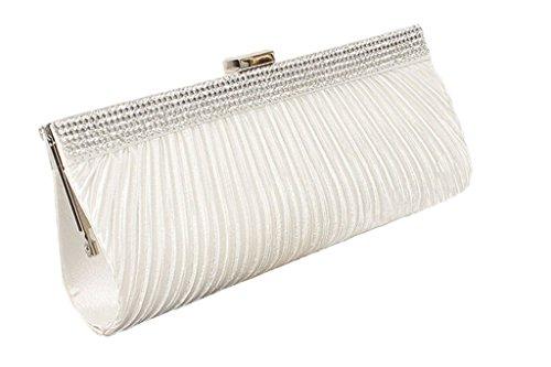peyviva Frauen Satin Plissee Kupplungen Abend Taschen Hochzeit Party Handtaschen Handtaschen mit Kristall, weiß (Weiss) - UK-WYB048-White (Plissee Kleid Satin)