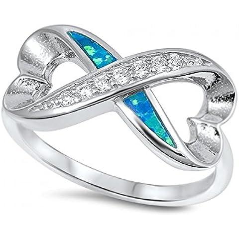 Sterling Silver Infinity a forma di cuore Lab opale gemma Anello