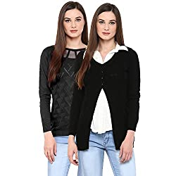 Womens Black Woolen Cardigan/Shrug with Womens Cotton Sweater (Pack of 2)